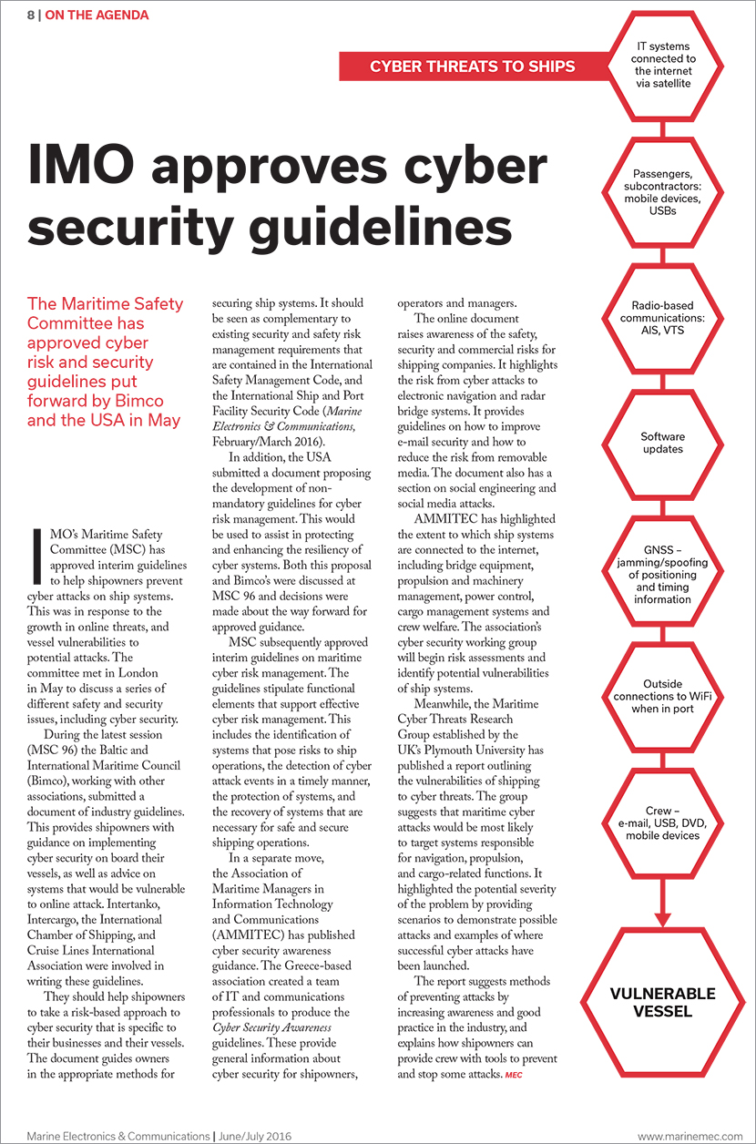 2016 06 Marine Electronics and Comms mec IMO Approves Cyber Security Guidelines